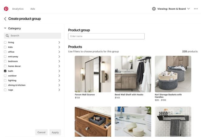 Pinterest Create product group