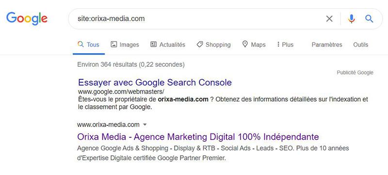commande site: dans google
