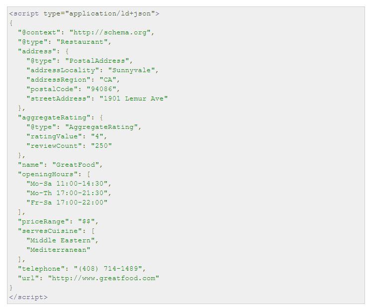 données structurées LocalBusiness en JSON LD
