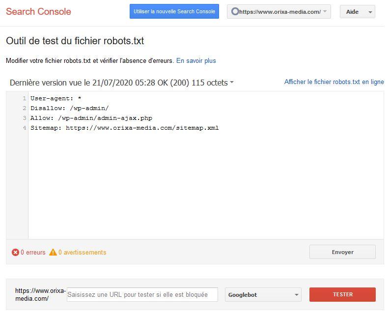 Search console : test du fichier robots.txt