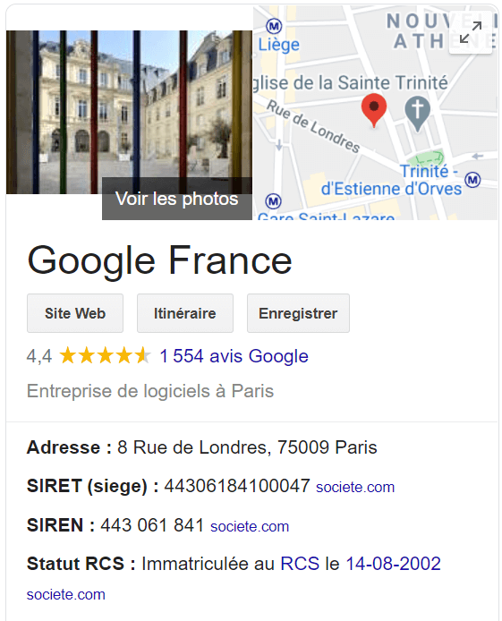 page google france my business