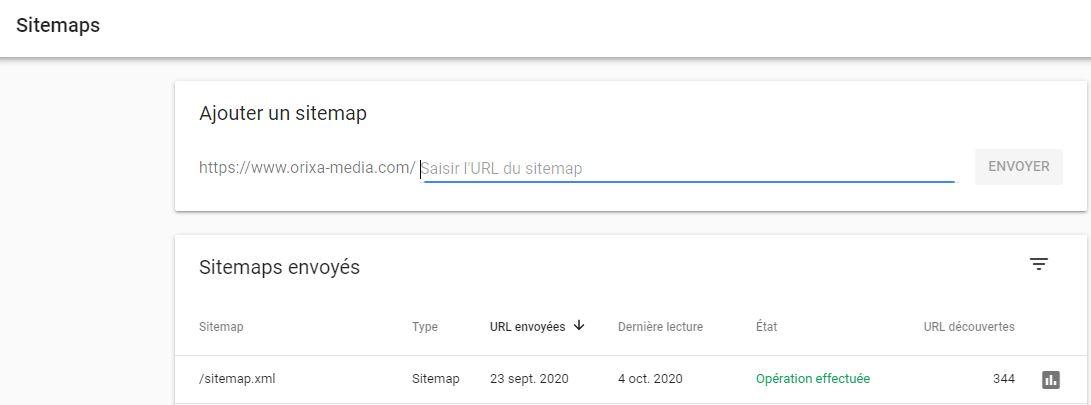 Search console : ajout d'un sitemap