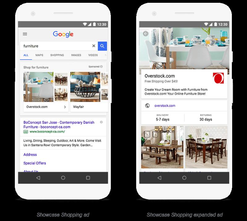 Annonces Google Showcase