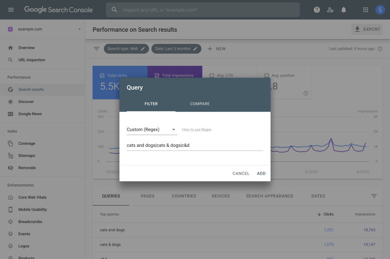 filtre regex rapport Performances Search Console